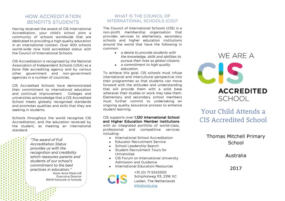 Australia - TMPS - 2017 Your Child Attends a CIS Accredited School